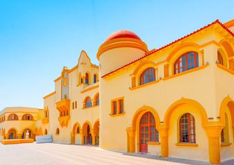 old Italian styled building in Kalymnos island in Greece