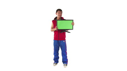 model isolated on white confident with greenscreen computer