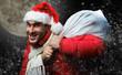 canvas print picture - crazy santa