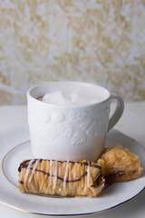 Steamy hot cocoa with baklava
