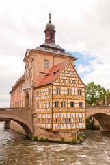 Bamberger Rottmeisterhäuschen auf der Brücke über der Regnitz