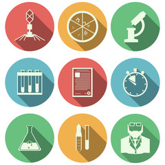 Flat icons for microbiology