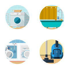 Flat icons collection for housekeeping