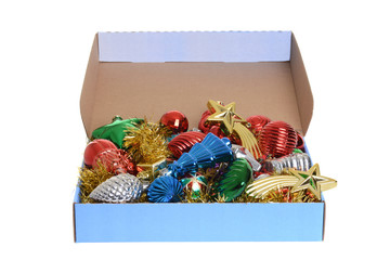 box of antique christmas ornaments