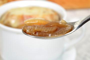 macro onion soup on spoon shallow DOF