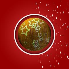 Sfondo rosso con palla di Natale oro stelle e fiocchi di neve