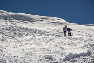 Winter mountain climbers in the Alps.