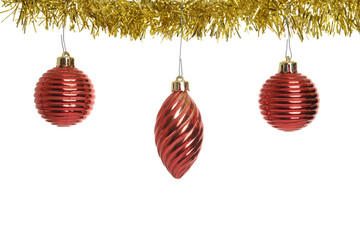 three red old christmas ornaments