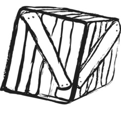 doodle grunge wooden crate