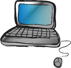 doodle laptop isolated on white