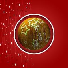 Palla di Natale gialla con stelle e fiocchi di neve