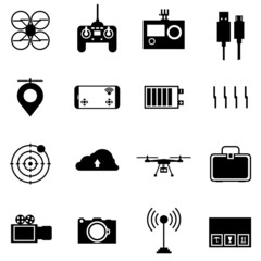 Black icons for quadrocopter set.