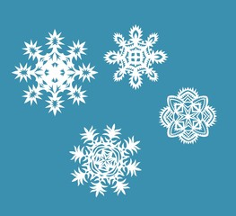 Collection of paper snowflakes