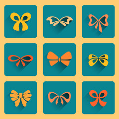 Set of square icons with bows, editable