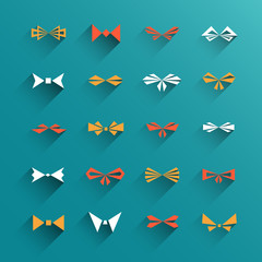 Vector set of isolated flat design bows, ties