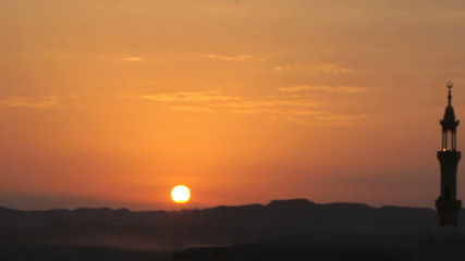 sunset over african landscape