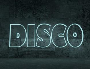 concrete blocks empty room with neon text disco