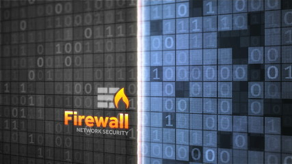Firewall network data security animation