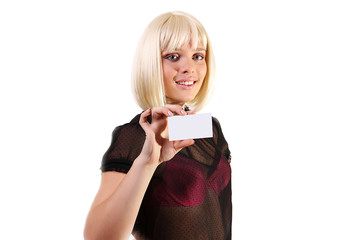 Closeup portrait of a young smiling business woman credit card o