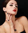 Style sexy female model with manicured hands with ring on finger