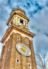 Beautiful belltower with clock in Venice Italy. HDR processed