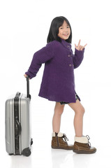 Beautiful asian girl with  baggage and hand sign