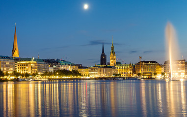 Downtown Hamburg with the Binnenalster lake at night