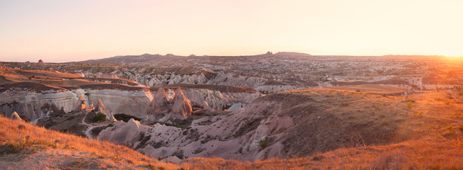 mountains and valley in the evening during sunset in Cappadocia