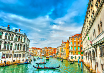 Gondolas in Main Canal of Venice Italy. HDR processed