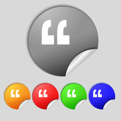 Quote sign icon. Quotation mark symbol. Double quotes at the end
