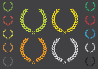 Laurel Leaf Wreath Colored Set