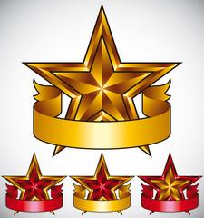 Stars classic emblems set.