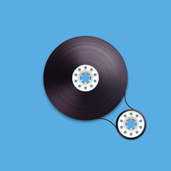 A vector illustration of a recordable babin of tape cassette.