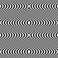 Seamless black and white wavy lines pattern.