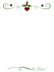 Christmas Card Background with Holly and Hearts