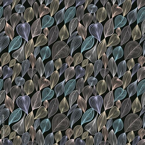 Panel Szklany Dark floral seamless pattern.