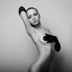 nude girl with the gloves