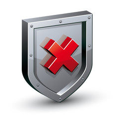 Security shield with warning x symbol.