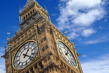 The Big Ben close up on a blue sky, England United Kingdom
