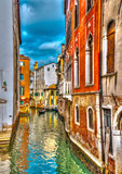 Beautiful view of a canal in Venice Italy. HDR processed
