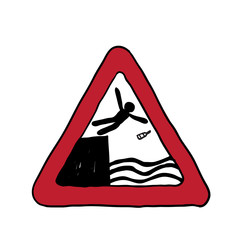 road sign danger. vector illustration