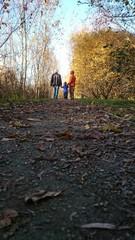 Großeltern und Enkel machen Spaziergang