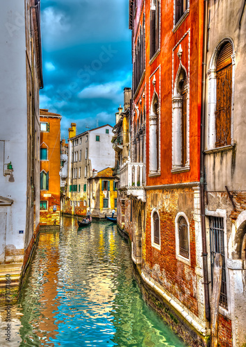 Beautiful view of a canal in Venice Italy. HDR processed - 73171860