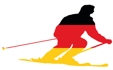 Germany flag into a skier silhouette, vector
