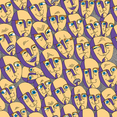 Emotions faces seamless background.