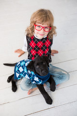 Hipster kid and dog