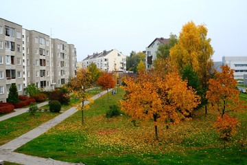 Autumn coming to the Vilnius city Pasilaiciai district