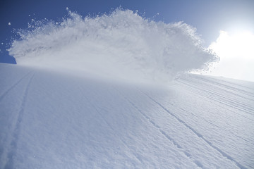 spray snow, freeride in the mountains