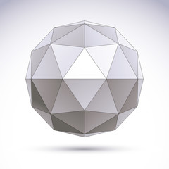 3D polygonal geometric object, vector abstract design element, c