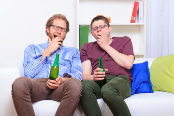 Two guys on boring party at home